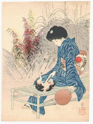 Takeuchi Keishu: Playing Kitten (Kuchi-e) - Artelino