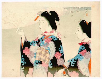 Tsukioka Kogyo: Viewing Cherry Blossoms (Kuchi-e) - Artelino
