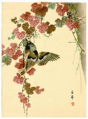 今尾景年: Bird and Purple Leaves (Muller Collection) - Artelino
