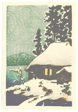 Kawase Hasui: Snow Covered Cottage (postcard size - Muller Collection) - Artelino