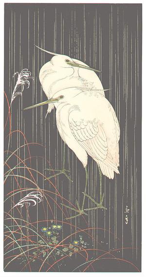 Imao Keinen: Two Egrets in Rainy Night (Muller Collection) - Artelino