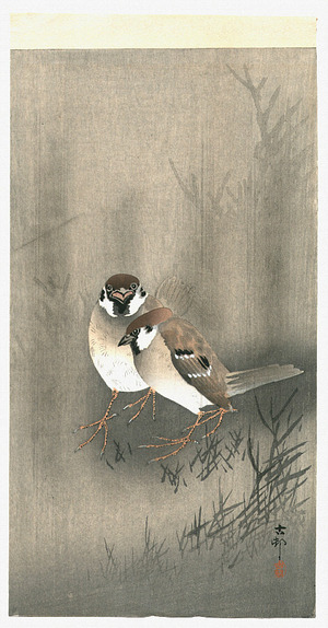 小原古邨: Two Sparrows - Artelino