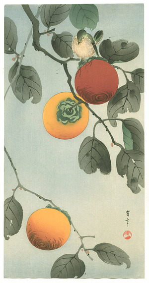 Watanabe Seitei: Bird on a Persimmon Tree (Muller Collection) - Artelino