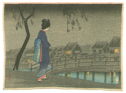 Takahashi Hiroaki: Lady in the Night (small crepe print) - Artelino
