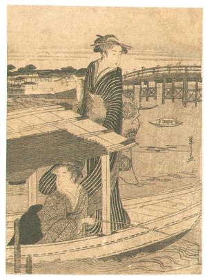 細田栄之: Two Beauties on a Boat - Artelino