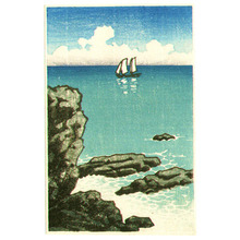 Kawase Hasui: Sail Boat and Shore (small size) - Artelino