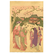 勝川春山: Cherry Blossom Viewing - Artelino