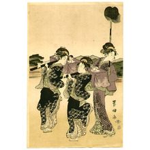 歌川豊国: Courtesan and Mt. Fuji (5 oban prints) - Artelino
