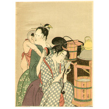 Kitagawa Utamaro: Kitchen - 1 (Left) - Artelino