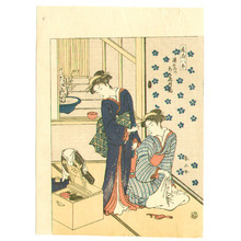 勝川春山: Beauties and Mirror - Zashiki Hakkei - Artelino