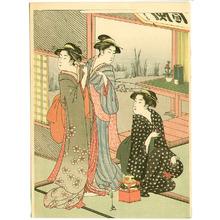 細田栄之: Three Beauties in a Tea House - Artelino