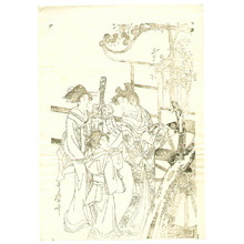 喜多川歌麿: Lady from Ox Cart Key-block Prints - Artelino