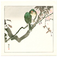 Seiko: Two Green Birds on Cherry Tree - Artelino
