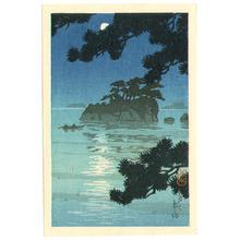 川瀬巴水: Moon at Matsushima (postcard size) - Artelino