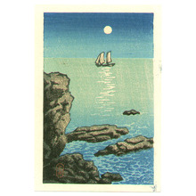 川瀬巴水: Sail Boat and Shore (postcard size) - Artelino