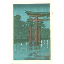 川瀬巴水: Miyajima at Night (postcard size) - Artelino