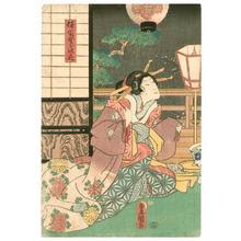 Utagawa Kunisada: Beauty and Lanterns - kabuki - Artelino