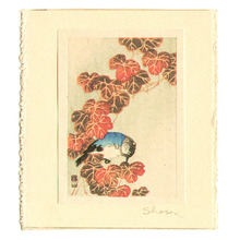 Ito Sozan: Blue Bird and Autumn Leaves (miniature print) - Artelino