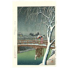 Kawase Hasui: Evening Snow at Edo River - Artelino