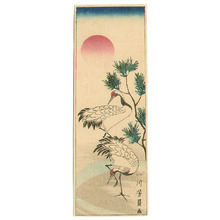 Utagawa Yoshikazu: Two Cranes and Sunrise - Artelino