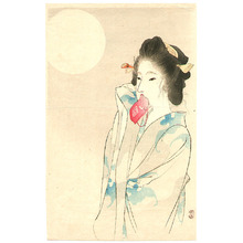 富岡英泉: Beauty and the Moon (Kuchi-e) - Artelino