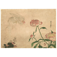 Katsushika II Taito: Long Tail Roosters among Flowers - Artelino
