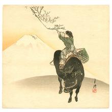 尾形月耕: Mt.Fuji, Boy and Ox - Artelino