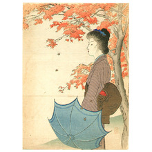 Takeuchi Keishu: Beauty and Red Maple (kuchi-e) - Artelino