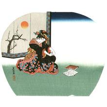 Keisai Eisen: Bijin Fan Print - Artelino
