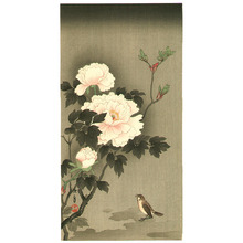 Imao Keinen: Sparrow and Two Peonies - Artelino