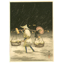 Takahashi Hiroaki: Carrying Basket in Snowy Night - Artelino