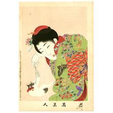 Toyohara Chikanobu: Playing with Cat - True Beauties - Artelino