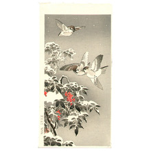 Tsuchiya Koitsu: Sparrows and Snow Covered Nandin - Artelino