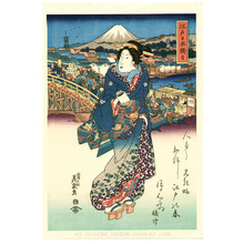 Keisai Eisen: Beauty and Nihonbashi Bridge - Artelino