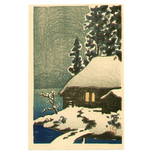 川瀬巴水: Snow Covered Cottage - Artelino