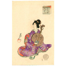 豊原周延: Beauty and Lute - Artelino
