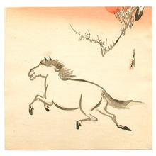尾形月耕: Horse and the Red Sun - Artelino
