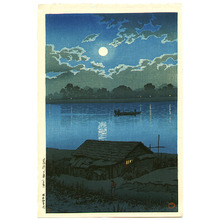 Kawase Hasui: Moon over the Ara River - Akabane - Artelino