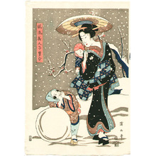Kikugawa Eizan: Beauty and Children in Winter - Artelino