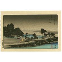 Utagawa Hiroshige: Night Rain at Azuma Forrest - Edo Kinko Hakkei - Artelino