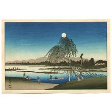 歌川広重: Autumn Moon at Tama River - Edo Kinko Hakkei - Artelino