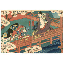 Utagawa Hirosada: Near the Water - kabuki - Artelino