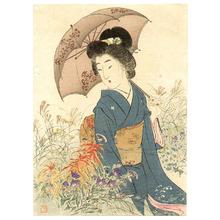 Suzuki Kason: Bijin in Autumn Garden - Artelino