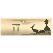 小原古邨: Deer, stone lantern and Torii - Artelino