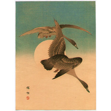 幸野楳嶺: Geese and the Moon - Artelino