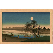 歌川広重: Autumn Moon at Tama River - Edo Kinko Hakkei - Artelino