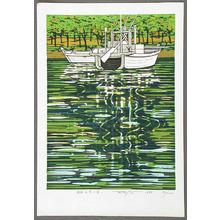 北岡文雄: White Boats at the Shore - Artelino