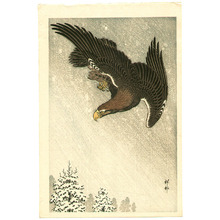 小原古邨: Eagle in Flight against a Snowy Sky - Artelino