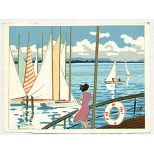 Kusaka Kenji: Sail Boats in Biwa Lake - Artelino