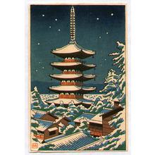 Fujishima Takeji: Pagoda in Snow - Artelino